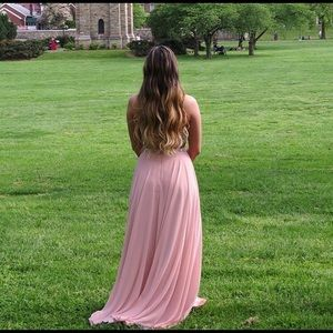 GORGEOUS Faviana baby pink two piece prom dress!